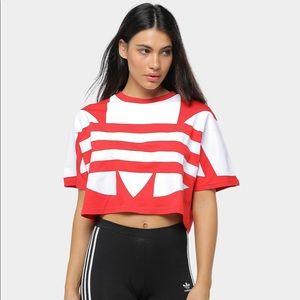 Adidas Large Logo Red Cropped T-Shirt